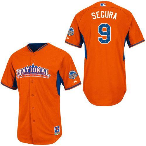 Brewers #9 Jean Segura Orange All-Star 2013 National League Stitched MLB Jersey