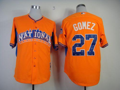 Brewers #27 Carlos Gomez Orange All-Star 2013 National League Stitched MLB Jersey