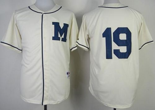 Brewers #19 Robin Yount Cream 1913 Turn Back The Clock Stitched MLB Jersey