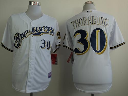 Brewers #30 Tyler Thornburg White Cool Base Stitche MLB Jersey