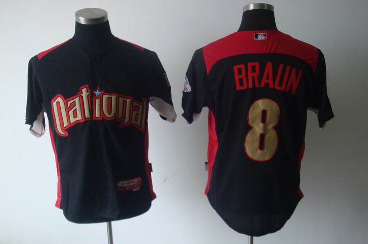 Brewers #8 Ryan Braun Black Nation League 2011 All Star BP Stitched MLB Jersey