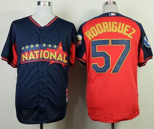 Brewers #57 Francisco Rodriguez Navy/Red National League 2014 All Star BP Stitched MLB Jersey