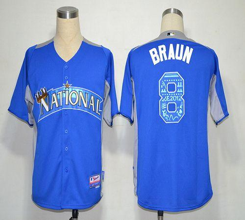 Brewers #8 Ryan Braun Blue 2012 All-Star BP Stitched MLB Jersey