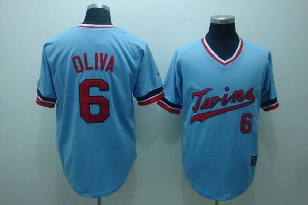 Mitchelland Ness Twins #6 Tony Oliva Stitched Light Blue Throwback MLB Jersey