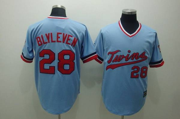 Mitchelland Ness Twins #28 Bert Blyleven Stitched Light Blue Throwback MLB Jersey