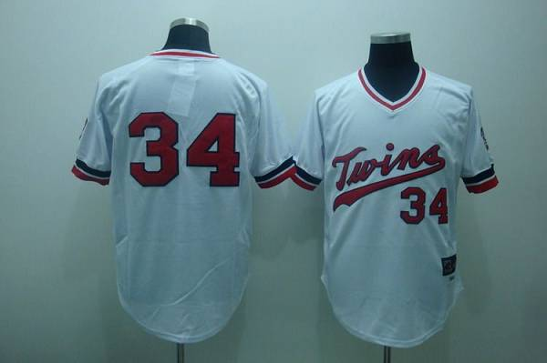 Twins #34 Kirby Puckett Stitched White Cooperstown Throwback MLB Jersey