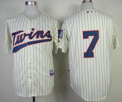 Twins #7 Joe Mauer Stitched Cream MLB Jersey