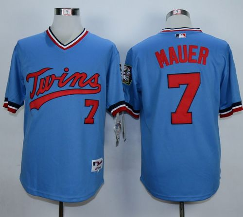 Twins #7 Joe Mauer Light Blue 1984 Turn Back The Clock Stitched MLB Jersey