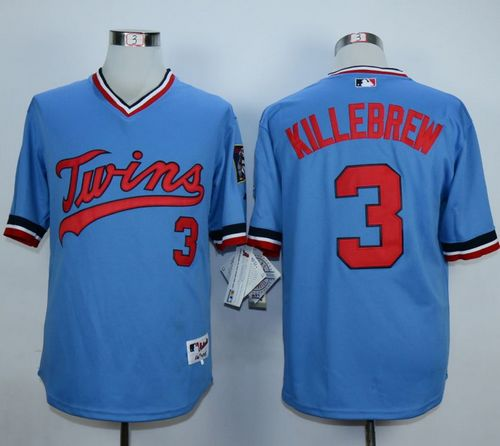 Twins #3 Harmon Killebrew Light Blue 1984 Turn Back The Clock Stitched MLB Jersey