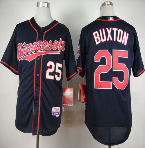 Twins #25 Byron Buxton Navy Blue Alternate Road Cool Base Stitched MLB Jersey
