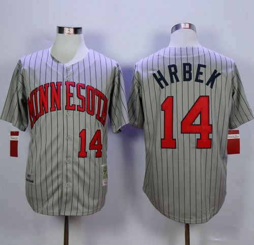 Mitchell And Ness 1987 Twins #14 Kent Hrbek Grey Throwback Stitched MLB Jersey
