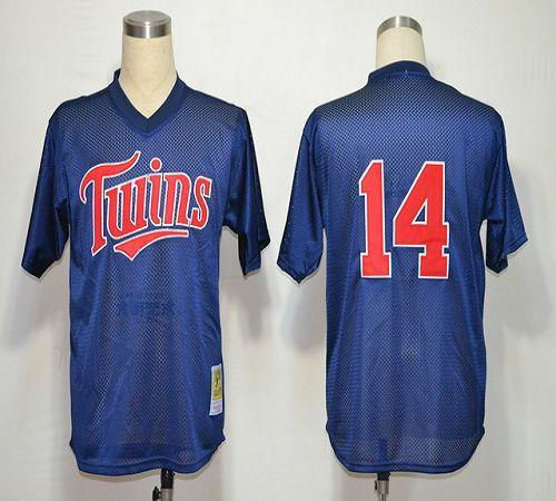 Mitchell And Ness 1991 Twins #14 Kent Hrbek Navy Blue Stitched MLB Jersey