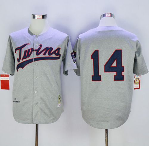 Mitchell And Ness 1969 Twins #14 Kent Hrbek Grey Throwback Stitched MLB Jersey