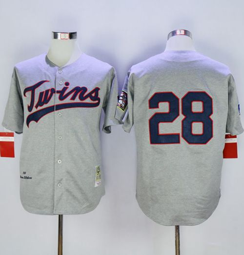 Mitchell And Ness 1969 Twins #28 Bert Blyleven Grey Throwback Stitched MLB Jersey
