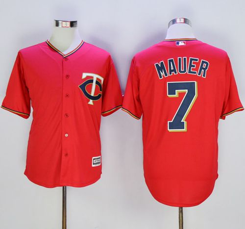 Twins #7 Joe Mauer Red New Cool Base Stitched MLB Jersey