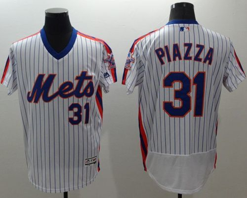 Mets #31 Mike Piazza White(Blue Strip) Flexbase Authentic Collection Alternate Stitched MLB Jersey