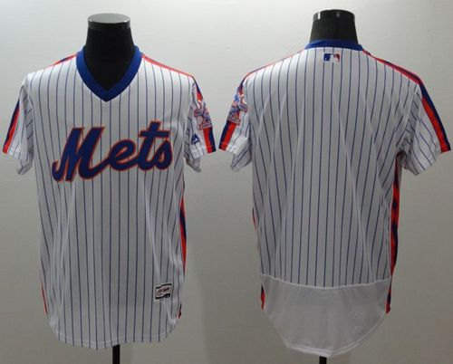 Mets Blank White(Blue Strip) Flexbase Authentic Collection Alternate Stitched MLB Jersey