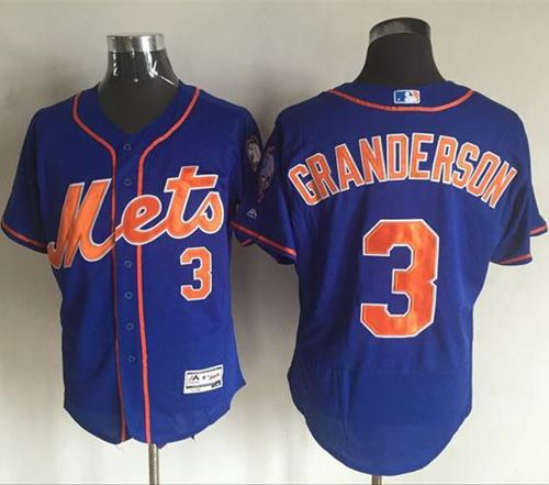 Mets #3 Curtis Granderson Blue Flexbase Authentic Collection Stitched MLB Jersey