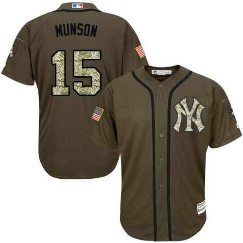 Yankees #15 Thurman Munson Green Salute to Service Stitched MLB Jersey