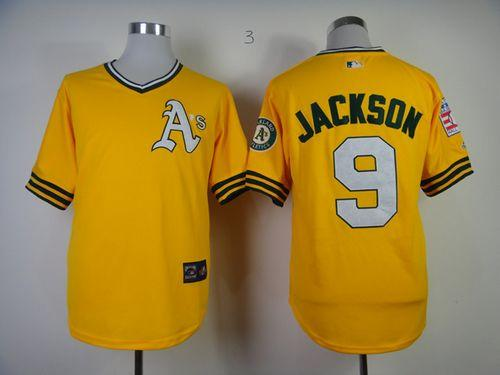 Mitchell And Ness Athletics #9 Reggie Jackson Yellow Throwback Stitched MLB Jersey