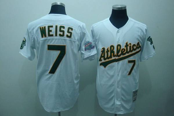 Mitchell and Ness Athletics #7 Walt Weiss Stitched White Throwback MLB Jersey