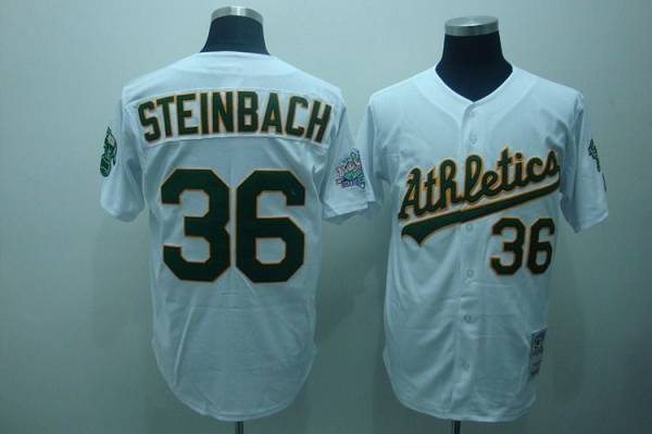 Mitchell and Ness Athletics #36 Terry Steinbach Stitched White Throwback MLB Jersey