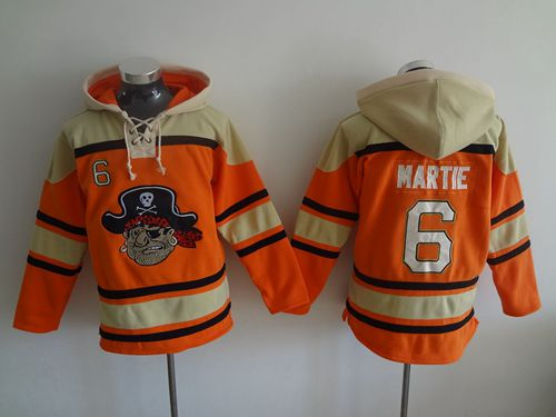 Pirates #6 Starling Marte Orange Sawyer Hooded Sweatshirt MLB Hoodie