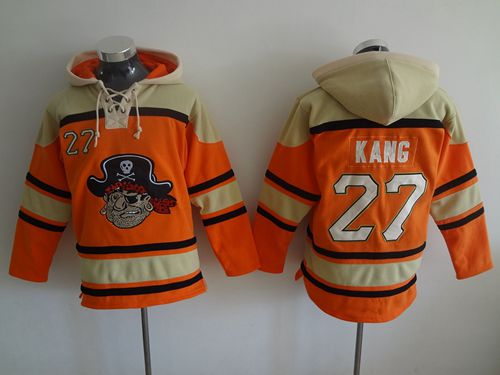 Pirates #27 Jung-ho Kang Orange Sawyer Hooded Sweatshirt MLB Hoodie