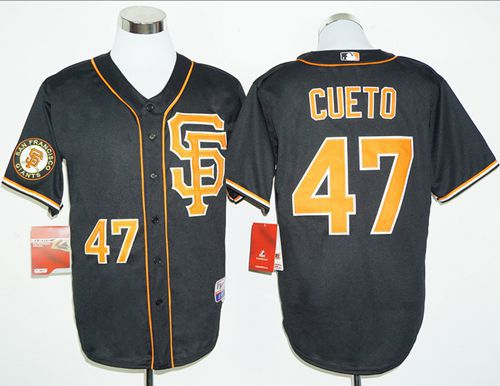 Giants #47 Johnny Cueto Black 2016 Cool Base Stitched MLB Jersey