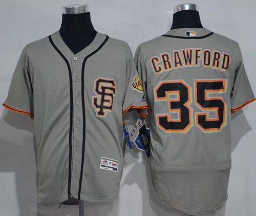 Giants #35 Brandon Crawford Grey Flexbase Authentic Collection Road 2 Stitched MLB jerseys