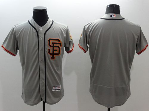 Giants Blank Grey Flexbase Authentic Collection Road 2 Stitched MLB Jersey