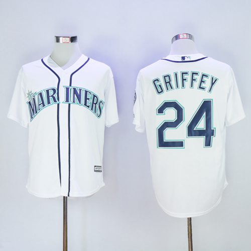 Mariners #24 Ken Griffey White New Cool Base 2016 Hall Of Fame Patch Stitched MLB Jersey