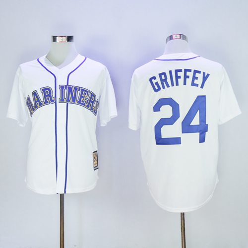 Mariners #24 Ken Griffey White Cooperstown 2016 Hall Of Fame Patch Stitched MLB Jersey