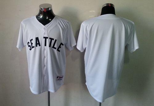 Mariners Blank White 1909 Turn Back The Clock Stitched MLB Jersey