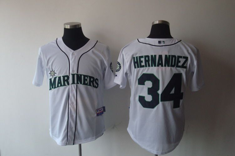 Mariners #34 Felix Hernandez White Cool Base Stitched MLB Jersey