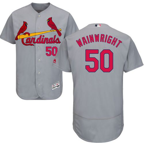 Cardinals #50 Adam Wainwright Grey Flexbase Authentic Collection Stitched MLB Jersey
