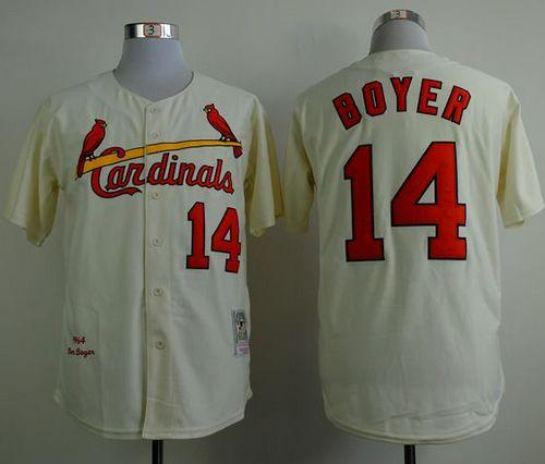 Mitchell And Ness 1964 Cardinals #14 Ken Boyer Cream Stitched MLB Jersey
