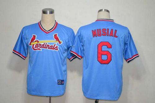 Mitchell And Ness Cardinals #6 Stan Musial Light Blue Throwback Stitched MLB Jersey