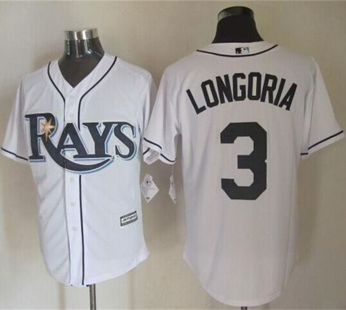 Rays #3 Evan Longoria White New Cool Base Stitched MLB Jersey