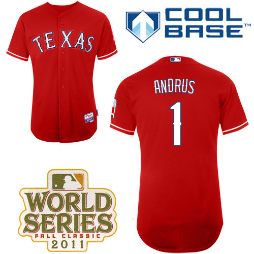 Rangers #1 Elvis Andrus Red Cool Base 2011 World Series Patch Stitched MLB Jersey