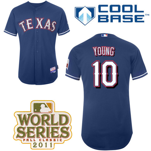 Rangers #10 Michael Young Blue Cool Base 2011 World Series Patch Stitched MLB Jersey