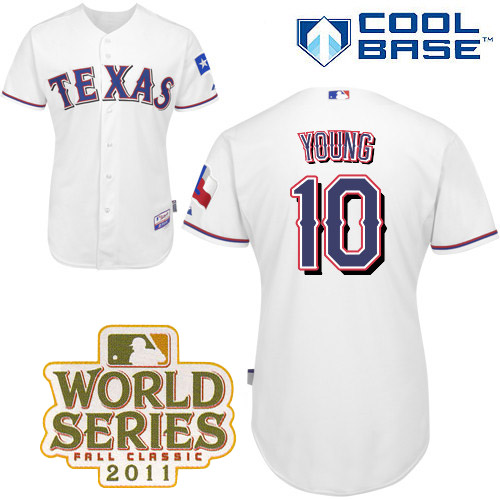 Rangers #10 Michael Young White Cool Base 2011 World Series Patch Stitched MLB Jersey