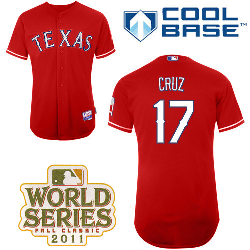 Rangers #17 Nelson Cruz Red Cool Base 2011 World Series Patch Stitched MLB Jersey
