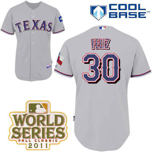 Rangers #30 Naftali Feliz Grey Cool Base 2011 World Series Patch Stitched MLB Jersey