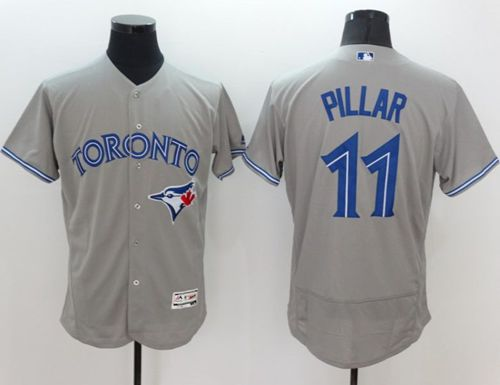 Blue Jays #11 Kevin Pillar Grey Flexbase Authentic Collection Stitched MLB Jersey