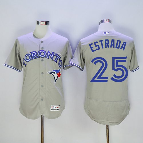 Blue Jays #25 Marco Estrada Grey Flexbase Authentic Collection Stitched MLB Jersey