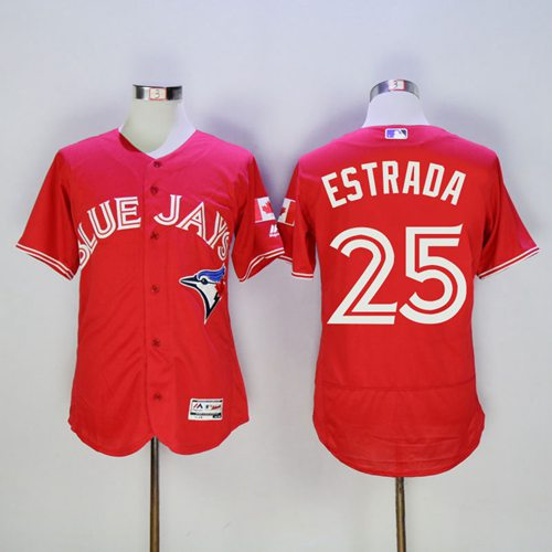Blue Jays #25 Marco Estrada Red Flexbase Authentic Collection Canada Day Stitched MLB Jersey