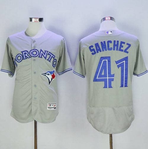 Blue Jays #41 Aaron Sanchez Grey Flexbase Authentic Collection Stitched MLB Jersey