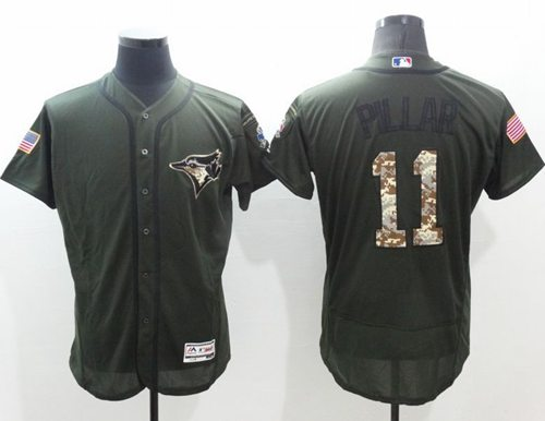 Blue Jays #11 Kevin Pillar Green Flexbase Authentic Collection Salute to Service Stitched MLB Jersey