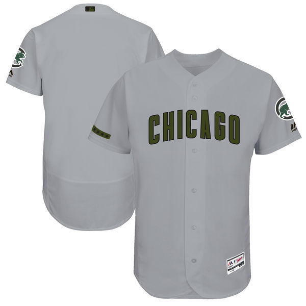 Men's Chicago Cubs Majestic Gray 2017 Memorial Day Authentic Collection Flex Base Team Stitched MLB Jersey